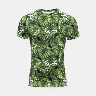 Monstera Leaf Jungle Print Shortsleeve rashguard obraz miniatury