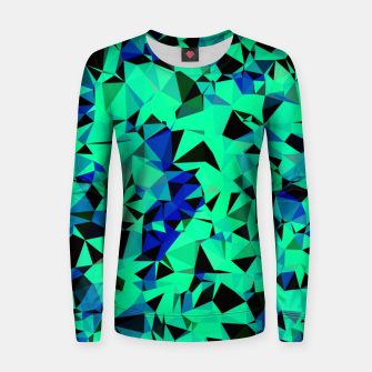 Thumbnail image of geometric triangle pattern abstract in green blue black Women sweater, Live Heroes