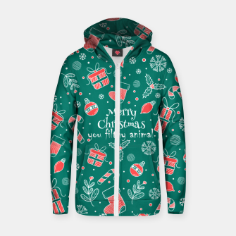 Thumbnail image of Merry Christmas you filthy Zip up hoodie, Live Heroes