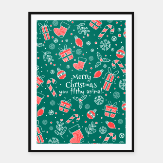 Thumbnail image of Merry Christmas you filthy Framed poster, Live Heroes