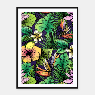 Thumbnail image of Drawn tropical flowers Framed poster, Live Heroes