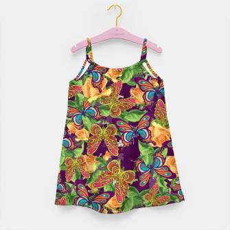 Miniatur Unique colorful butterflies Girl's dress, Live Heroes