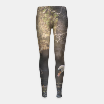 Thumbnail image of swan #1 Girl's leggings, Live Heroes