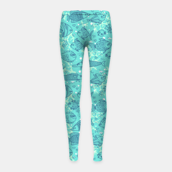 Thumbnail image of Blue Fishes Girl's leggings, Live Heroes