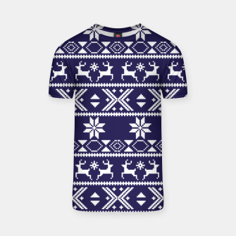 Thumbnail image of Fair Isle Knit Pattern Blue T-shirt, Live Heroes
