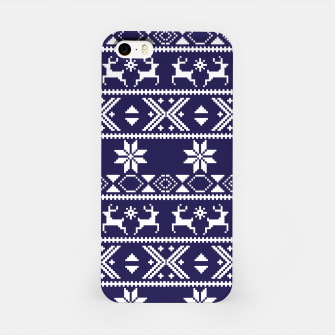 Thumbnail image of Fair Isle Knit Pattern Blue iPhone Case, Live Heroes