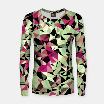 Thumbnail image of geometric triangle pattern abstract in green pink black Women sweater, Live Heroes