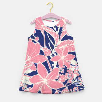 Thumbnail image of Pink Roses on blue Girl's summer dress, Live Heroes