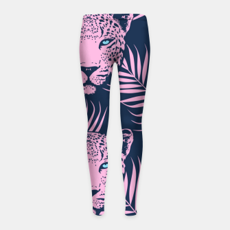 Thumbnail image of Leopard with palm leaves Girl's leggings, Live Heroes
