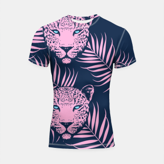 Thumbnail image of Leopard with palm leaves Shortsleeve rashguard, Live Heroes