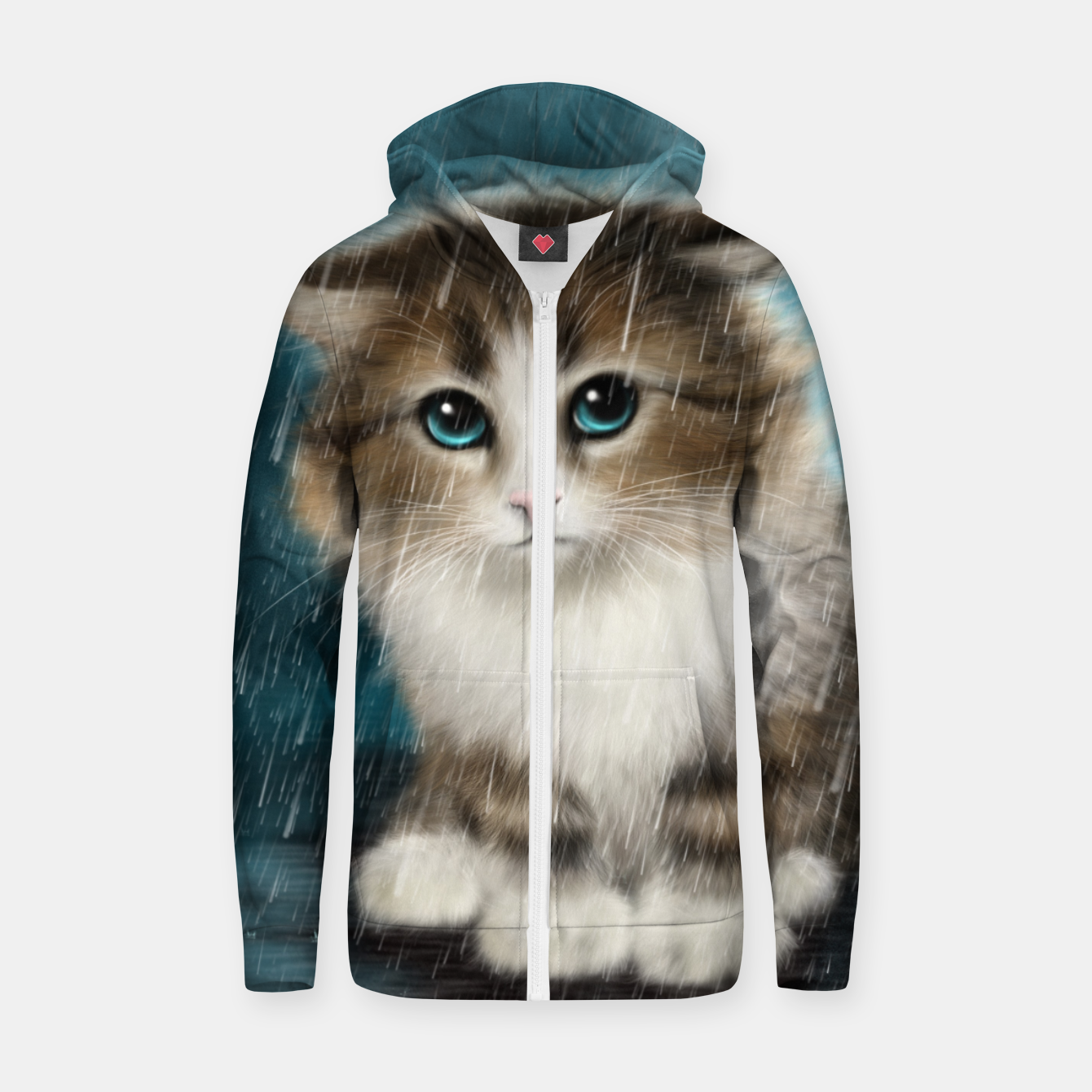 Foto Raining Kitty Cat Zip up hoodie - Live Heroes