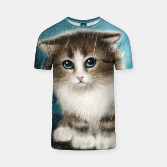 Raining Kitty Cat T-shirt Bild der Miniatur