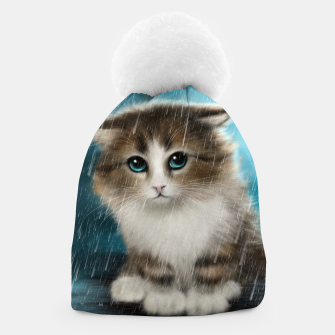 Raining Kitty Cat Beanie Bild der Miniatur