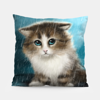 Raining Kitty Cat Pillow Bild der Miniatur