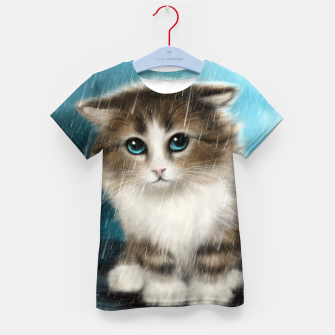 Raining Kitty Cat Kid's t-shirt Bild der Miniatur
