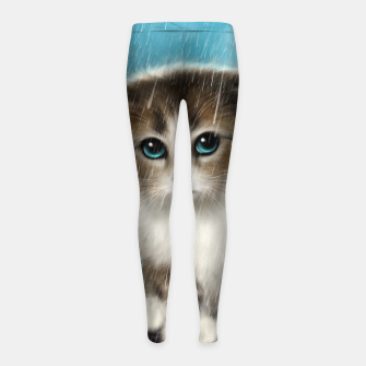 Raining Kitty Cat Girl's leggings Bild der Miniatur