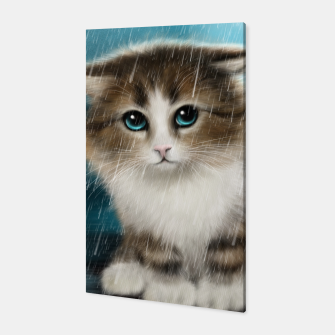 Raining Kitty Cat Canvas Bild der Miniatur