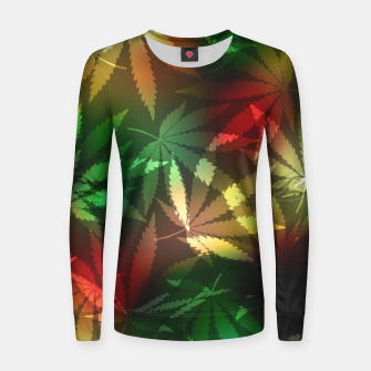 Thumbnail image of Colorful cannabis leaves Women sweater, Live Heroes