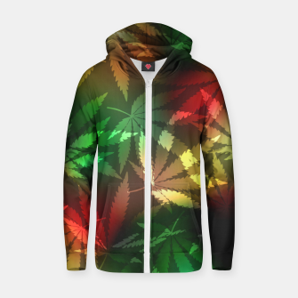 Thumbnail image of Colorful cannabis leaves Zip up hoodie, Live Heroes