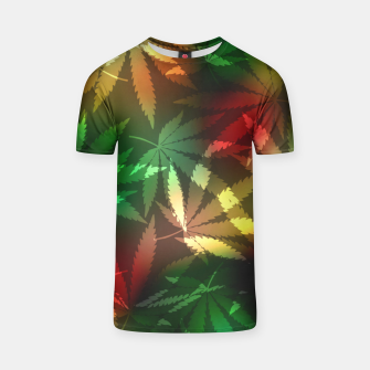 Thumbnail image of Colorful cannabis leaves T-shirt, Live Heroes