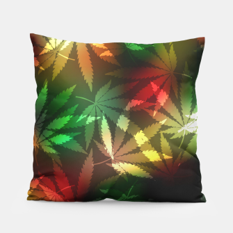 Thumbnail image of Colorful cannabis leaves Pillow, Live Heroes