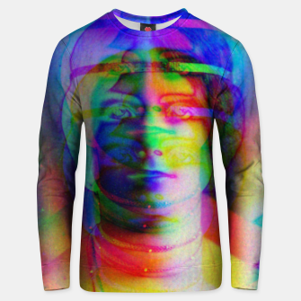 Thumbnail image of Glitch art colourful rainbow woman portrait Unisex sweater, Live Heroes