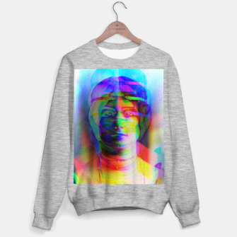 Thumbnail image of Glitch art colourful rainbow woman portrait Sweater regular, Live Heroes