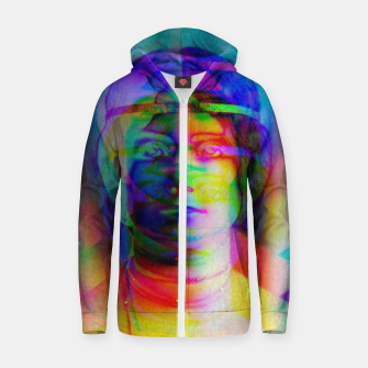 Thumbnail image of Glitch art colourful rainbow woman portrait Zip up hoodie, Live Heroes