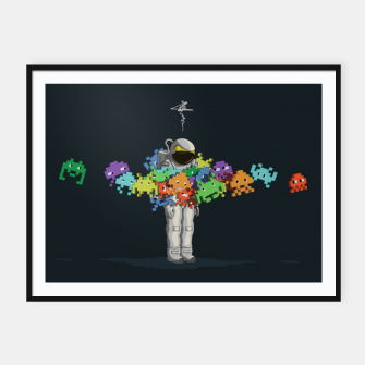 Thumbnail image of Personal Space Invaders Framed poster, Live Heroes