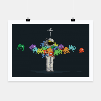 Miniatur Personal Space Invaders Poster, Live Heroes