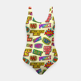 Miniaturka Funky pattern #09 (dope, straight fire, funky, hot, deal with it, crazy, awesome, etc) Swimsuit, Live Heroes