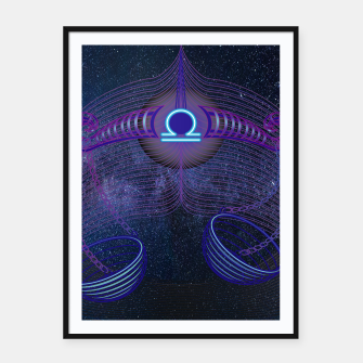 Thumbnail image of Libra Zodiac Art Galaxy Air Element Framed poster, Live Heroes