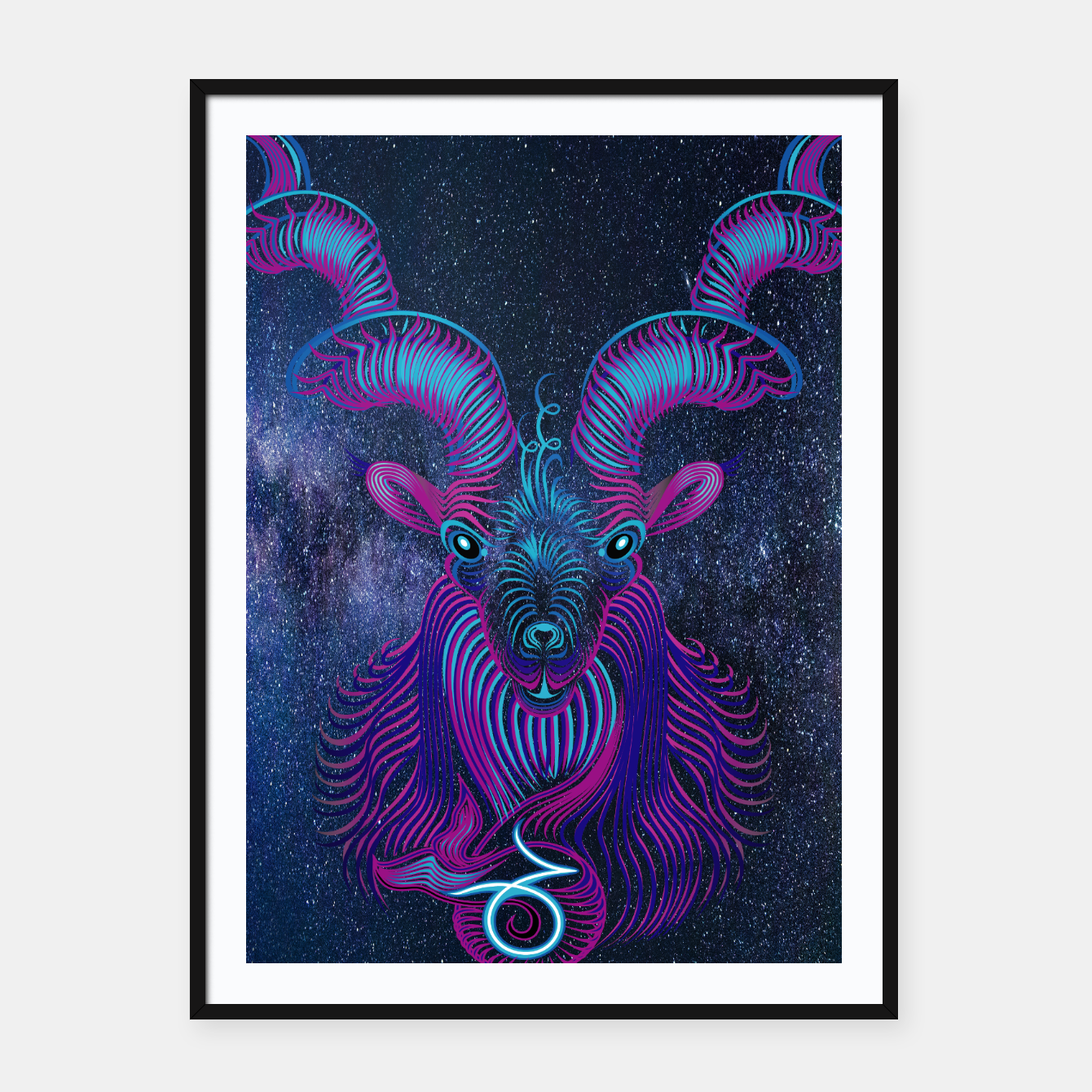 Image of Capricorn Zodiac Art Galaxy Earth Element Framed poster - Live Heroes
