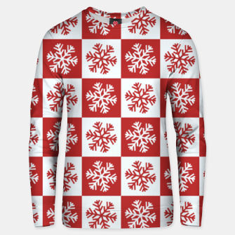 Thumbnail image of Snow flakes checkered  Unisex sweater, Live Heroes