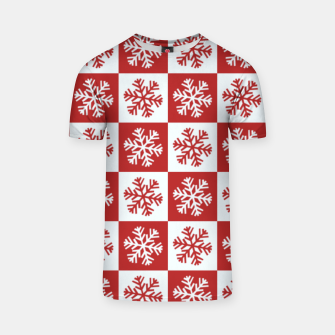 Thumbnail image of Snow flakes checkered  T-shirt, Live Heroes