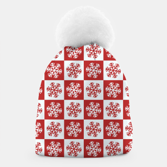 Thumbnail image of Snow flakes checkered  Beanie, Live Heroes