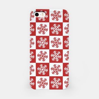 Thumbnail image of Snow flakes checkered  iPhone Case, Live Heroes