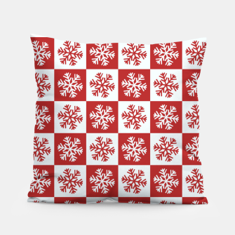 Thumbnail image of Snow flakes checkered  Pillow, Live Heroes