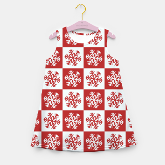Thumbnail image of Snow flakes checkered  Girl's summer dress, Live Heroes