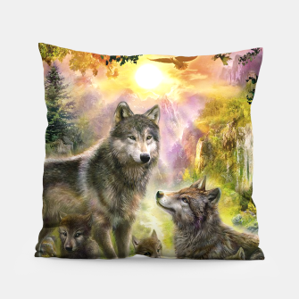 Thumbnail image of Wolf Family Pillow, Live Heroes