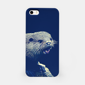 Thumbnail image of gxp fish otter on a rock vector art dark fog iPhone Case, Live Heroes