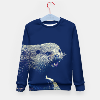 Thumbnail image of gxp fish otter on a rock vector art dark fog Kid's sweater, Live Heroes