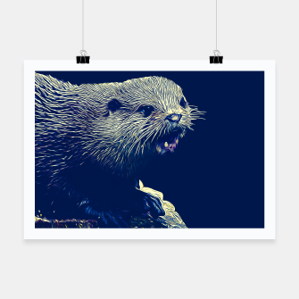 Thumbnail image of gxp fish otter on a rock vector art dark fog Poster, Live Heroes