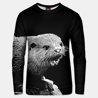 Thumbnail image of gxp fish otter on a rock vector art black white Unisex sweater, Live Heroes