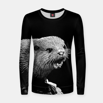 Thumbnail image of gxp fish otter on a rock vector art black white Women sweater, Live Heroes