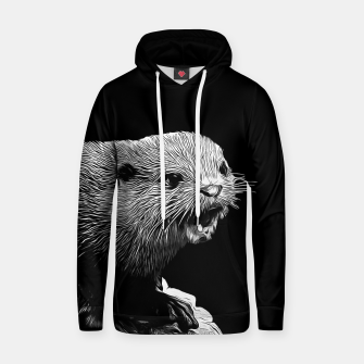 Thumbnail image of gxp fish otter on a rock vector art black white Hoodie, Live Heroes