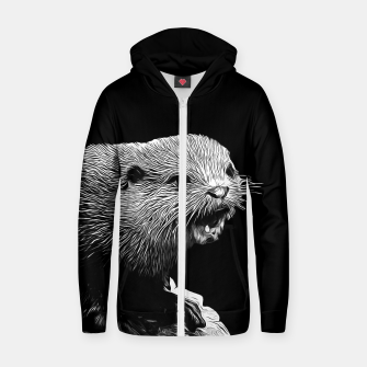 Thumbnail image of gxp fish otter on a rock vector art black white Zip up hoodie, Live Heroes