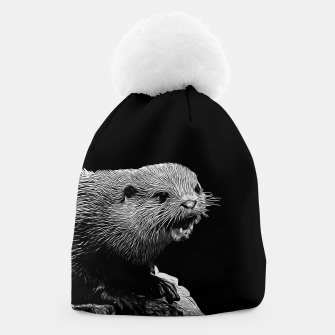 Thumbnail image of gxp fish otter on a rock vector art black white Beanie, Live Heroes