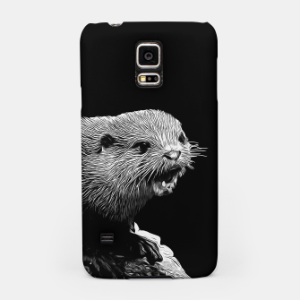 Thumbnail image of gxp fish otter on a rock vector art black white Samsung Case, Live Heroes