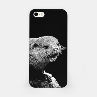 Thumbnail image of gxp fish otter on a rock vector art black white iPhone Case, Live Heroes